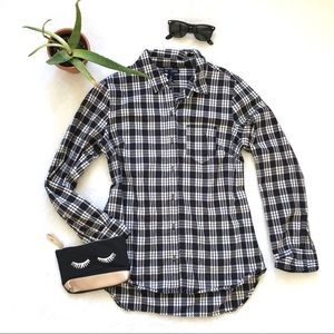 plaid button-up {gap}